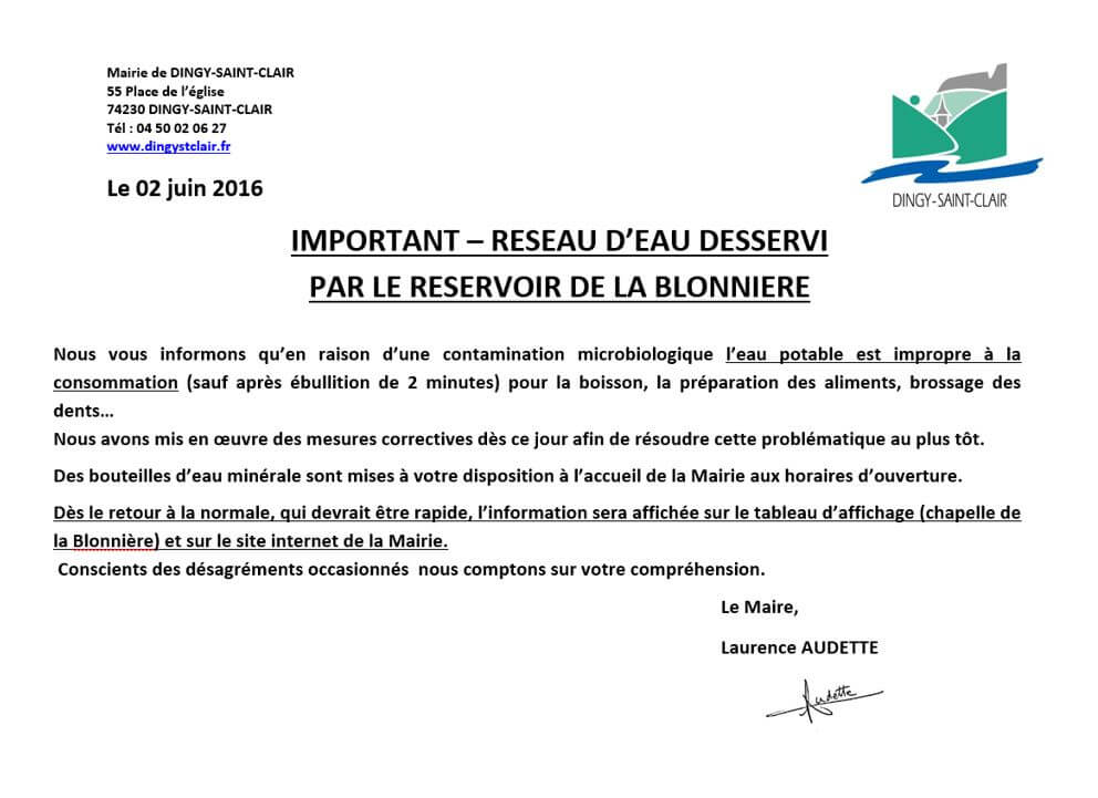 Contamination eau Blonniere flash info